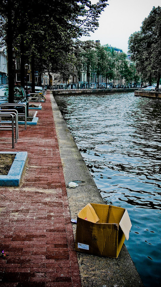 I find it interesting that there are no barriers between the sidewalks and the canals.