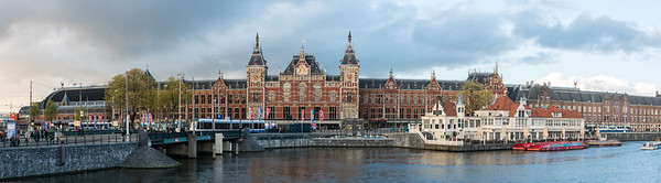 Amsterdam, Centraal Station panoramic view. Amsterdam, the Netherlands, Europe.