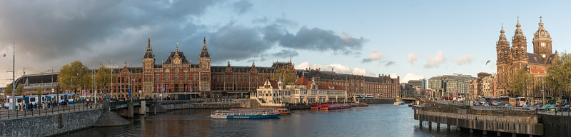 Panoramic view of Amsterdam, Centraal Station, Amsterdam, the Netherlands, Europe.