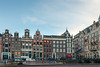 Typical Dutch houses seen in Amsterdam, Muntplein, Netherlands, Europe.