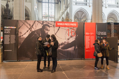 World Press Photo 2016 Exhibition held at De Nieuwe Kerk, Amsterdam, the Netherlands, exhibition space in a medieval church that hosts royal weddings, ceremonies & organ recitals.