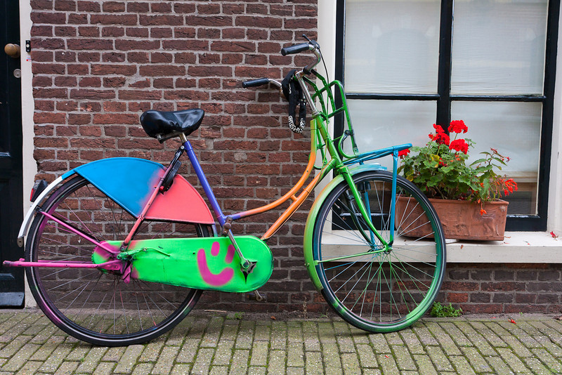 Buntes Fahrrad auf Prinseneiland