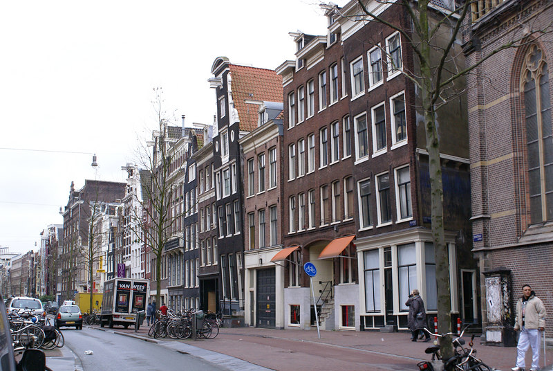 Leaning buildings in Spuisstraat
