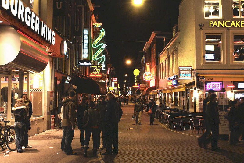 View east along Leidsedwarstraat - lively at weekend and most nights during summertime.