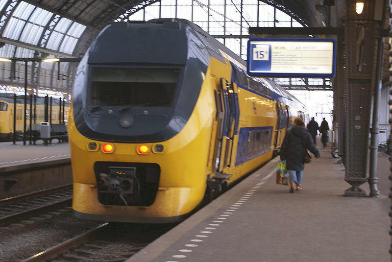 The 0759 double decked Intercity train from Amsterdam Centraal Platform 15A to Den Haag (The Hague) and Bergen am Zoot. It stops at Amsterdam Schiphol Airport en route but if you miss it .......