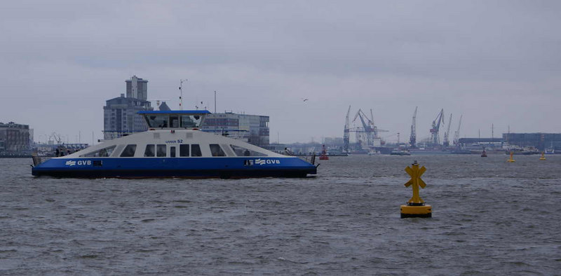 Liveer 52 with Amsterdam's Docks and shipyards beyond.