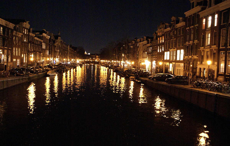 Amsterdam is famous, of course, for its many canals - this one is the Prinsengracht at night
