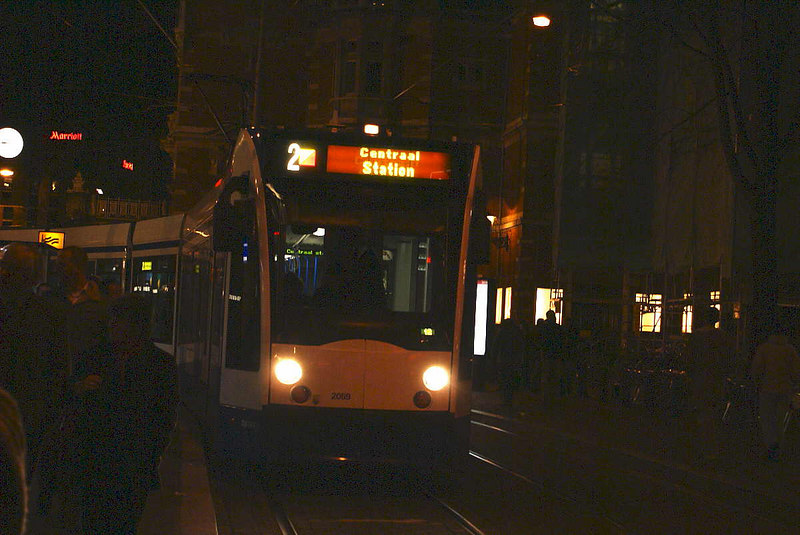A late night No 2 tram heads north from Leidseplein for Centraal Station