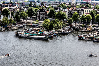 Bird's eye view of the harbor in Amsterdam.