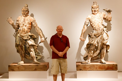 Don among the ancient statues at the Rijks Museum in Amsterdam