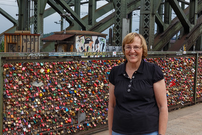 Cologne's Love Locks Bridge where 2,000 trains pass by behind the locks.