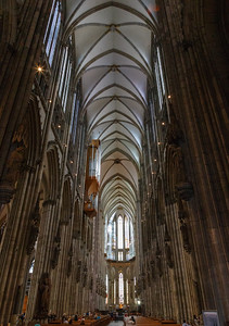 An inside view of the gothic cathedral.