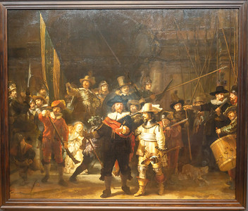 Rembrant's famous painting the Nightwatch at the Rijks Museum in Amsterdam
