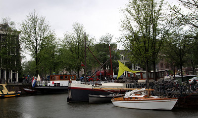 Canal and boats, Amsterdam.