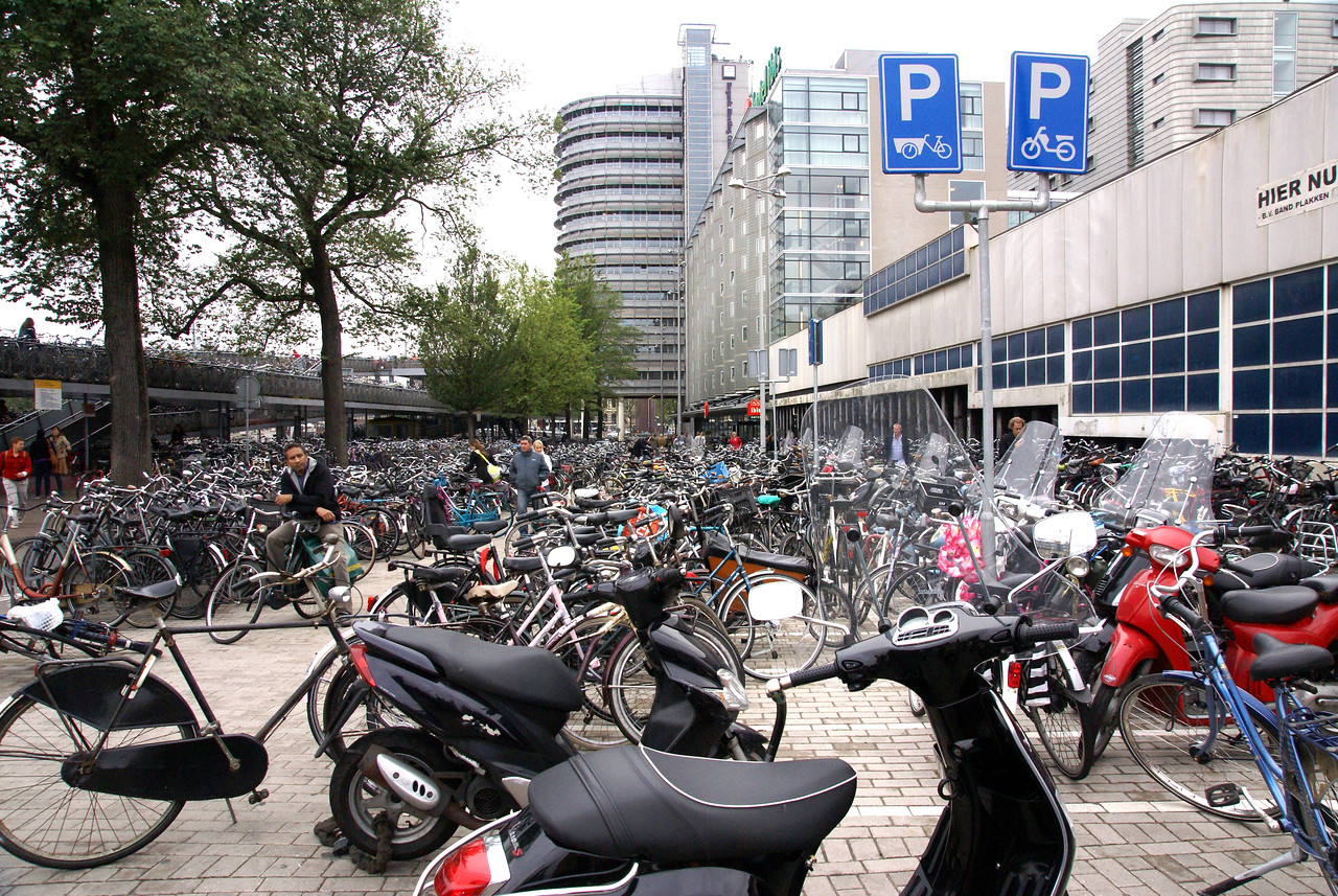 Bicycle and motor bike park at the main train station. Bicycles are everywhere in Amsterdam.