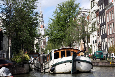 Boats and canal, Amsterdam.