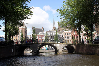 Amsterdam canal and bridge.