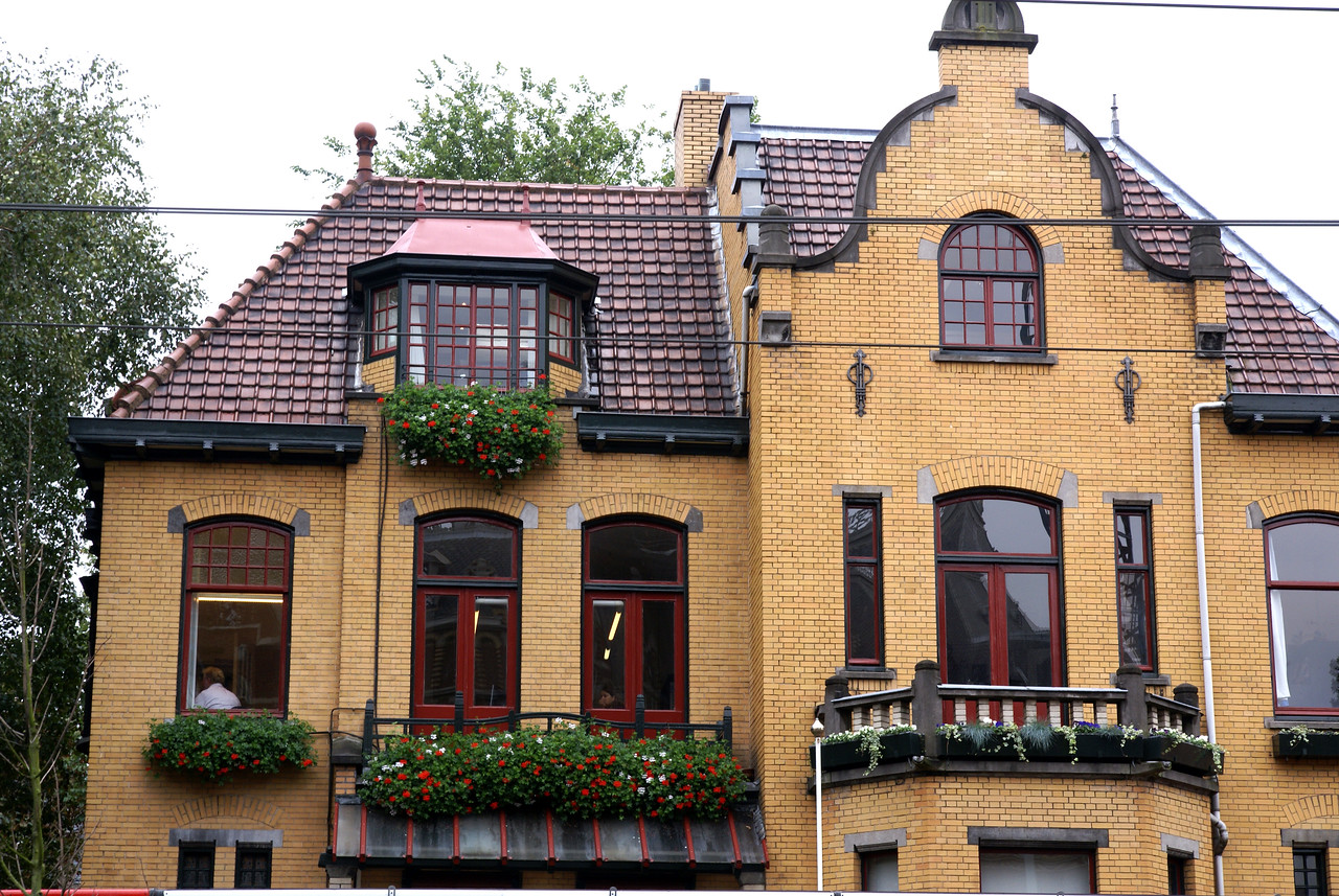 Building with flower boxes.