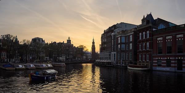 Amsterdam evening panorama