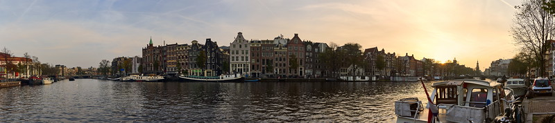 Amsterdam evening panorama over Amstel