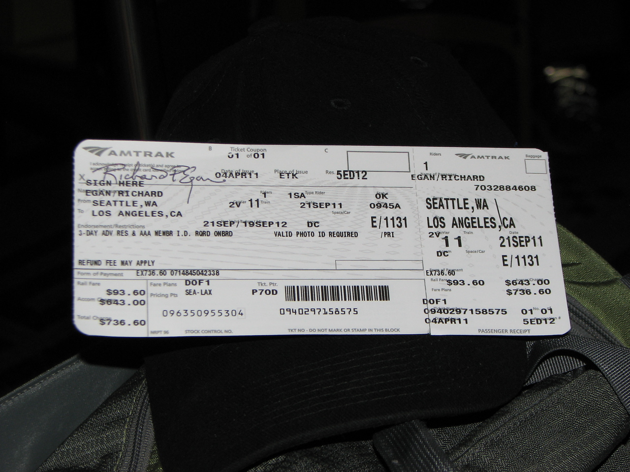 The First of 7 tickets required for the trip.