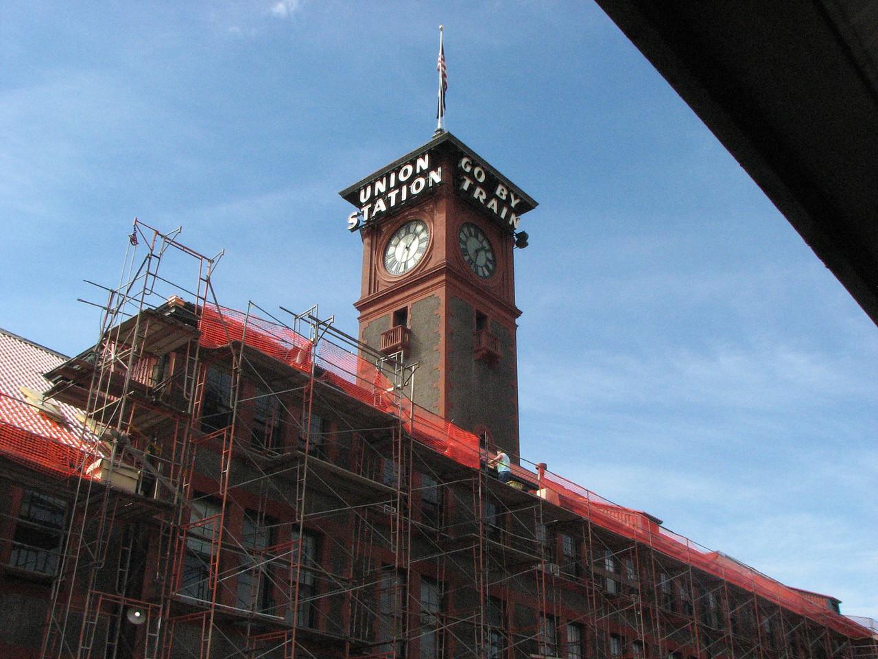 The Portland Station being refurbished.