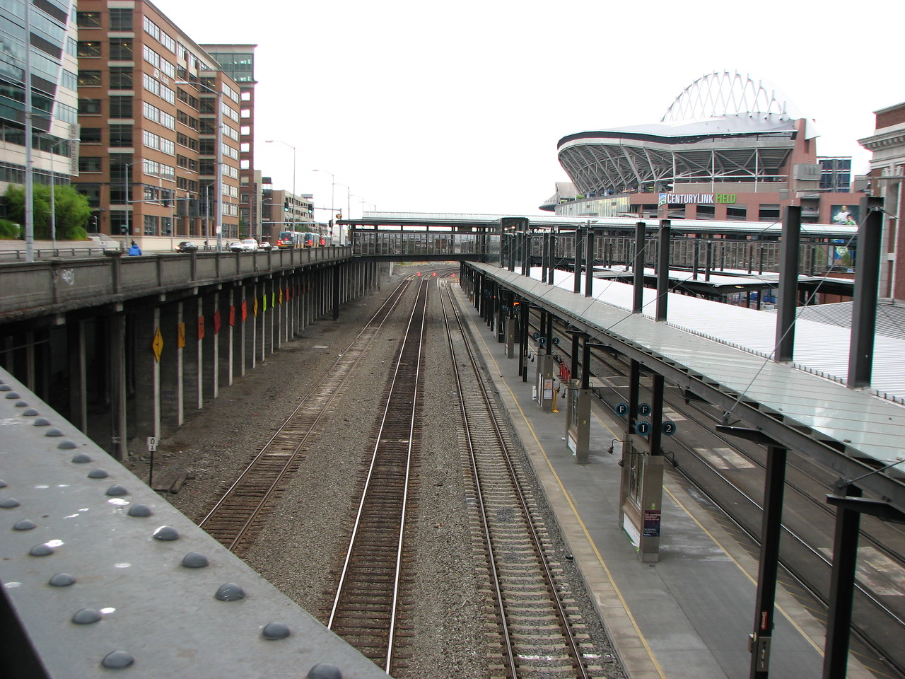Southbound view of Station Platforms.