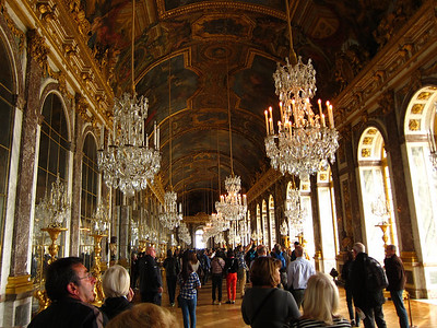 Hall of Mirrors at Versailles. The Treaty of Versailles, which ended WWI, was signed here.
