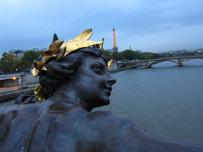 View from the Pont Alexandre bridge over the River Seine, towards the Eiffel Tower
