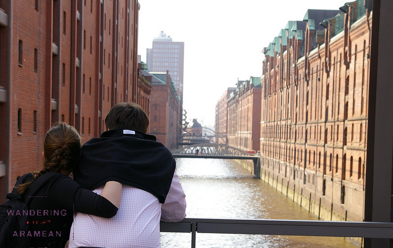 A couple enjoying the view of the canals in Hamburg