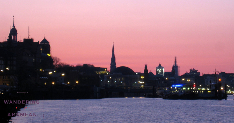 Sunrise over Hamburg; St. Michaelis on the far left
