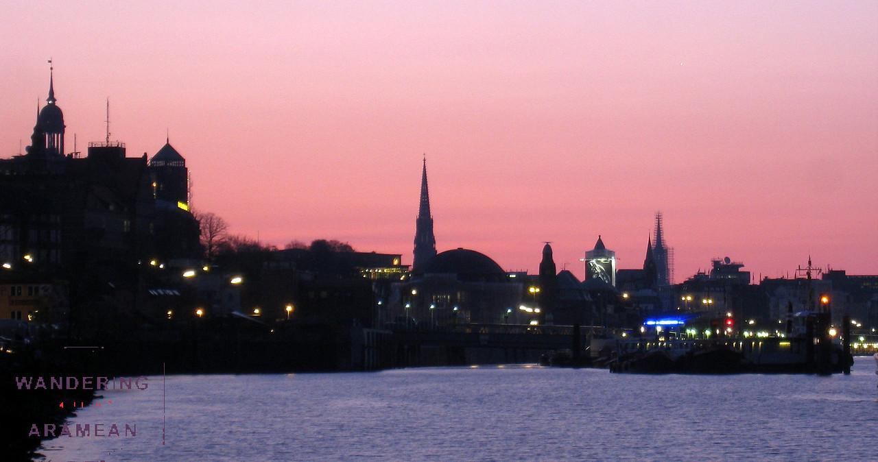 Sunrise over Hamburg; St. Michaelis on the far left