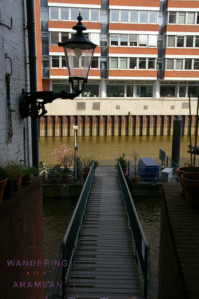 A private gangway and patio on the canal