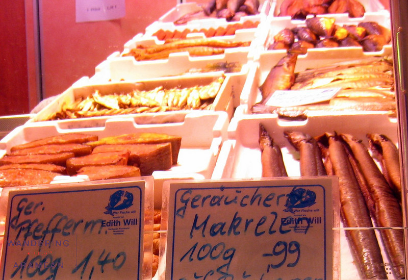 Smoked fish in the Fischmarkt
