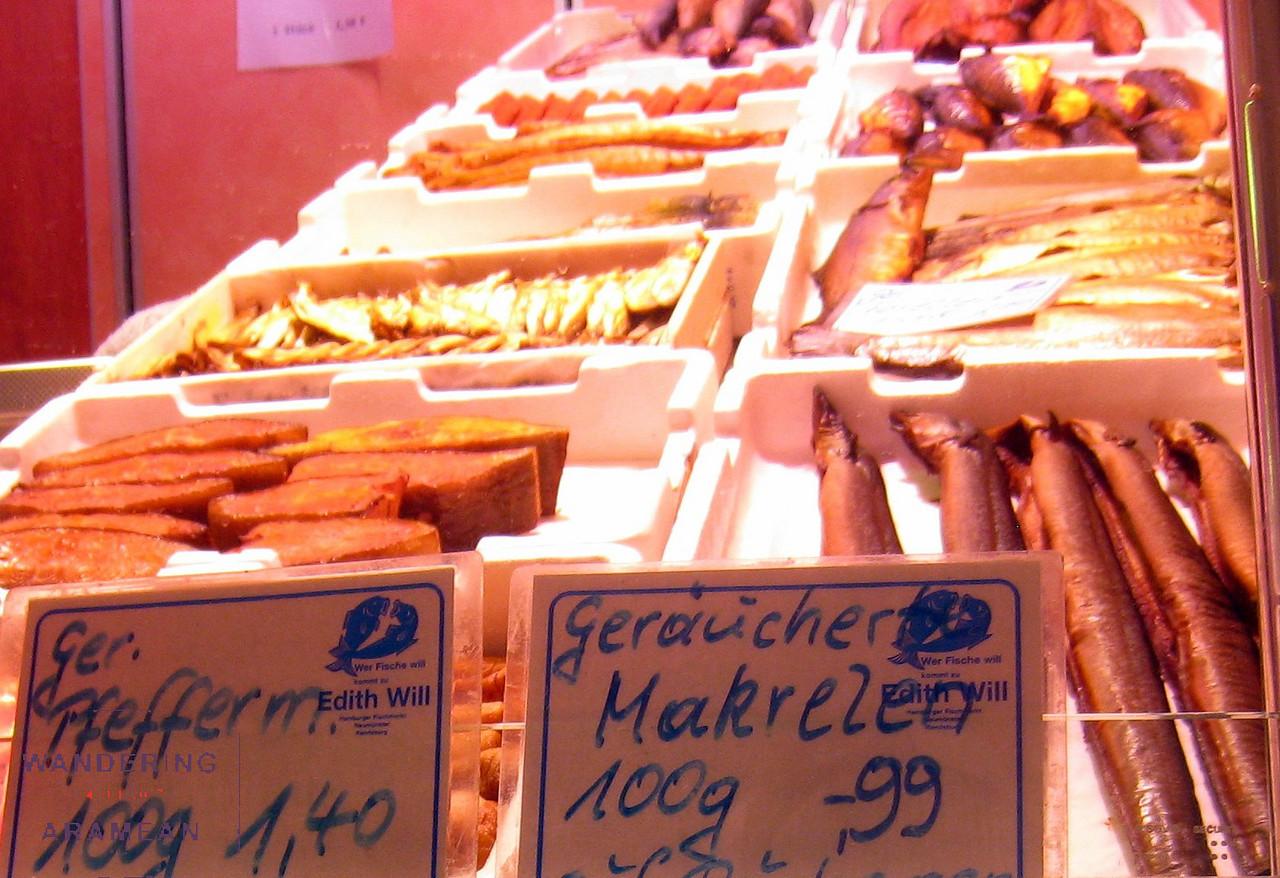 Smoked fish in the Fischmarkt
