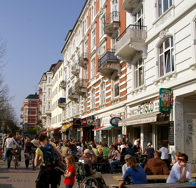 Enjoying a sunny Spring afternoon in the Schanzenviertel district