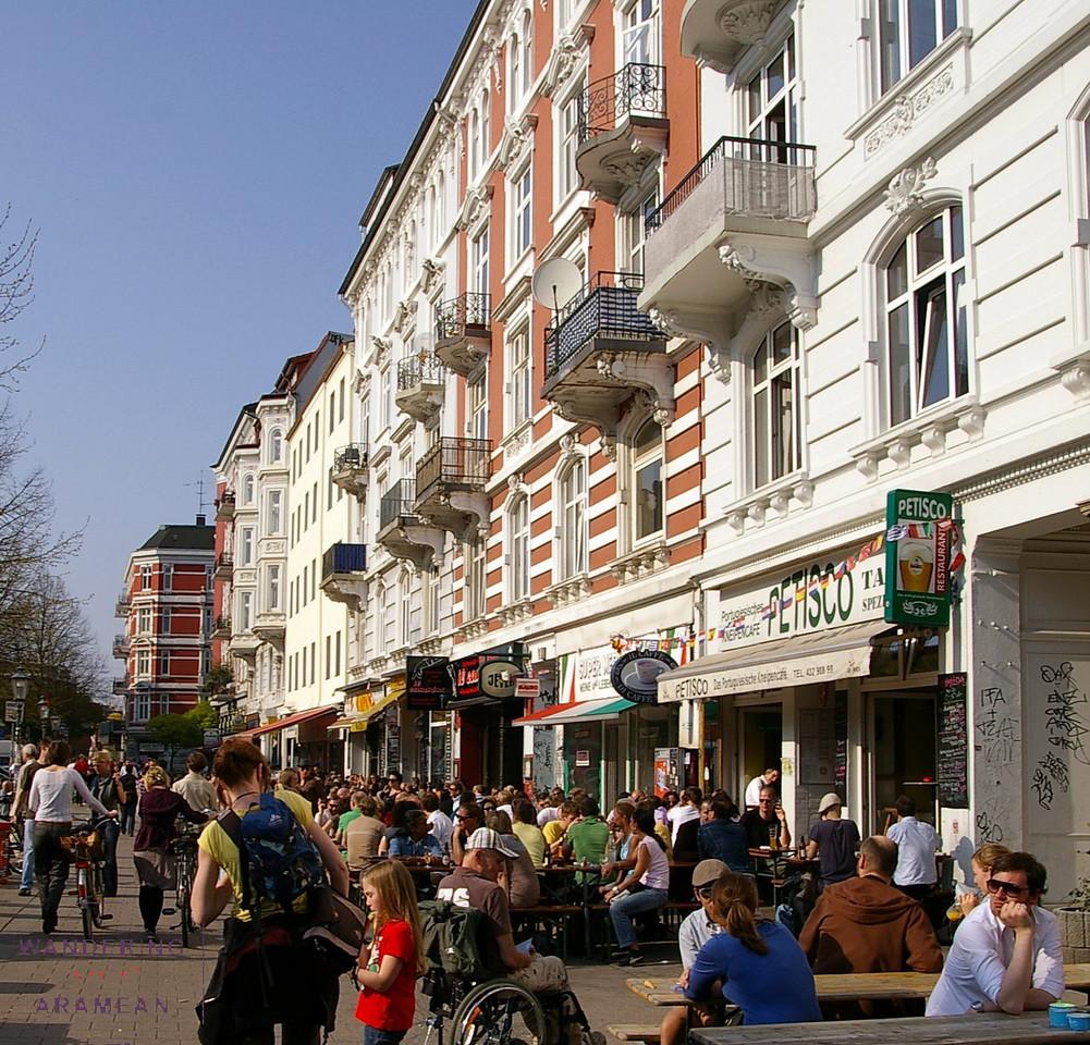Enjoying a sunny Spring afternoon in the Schanzenviertel district