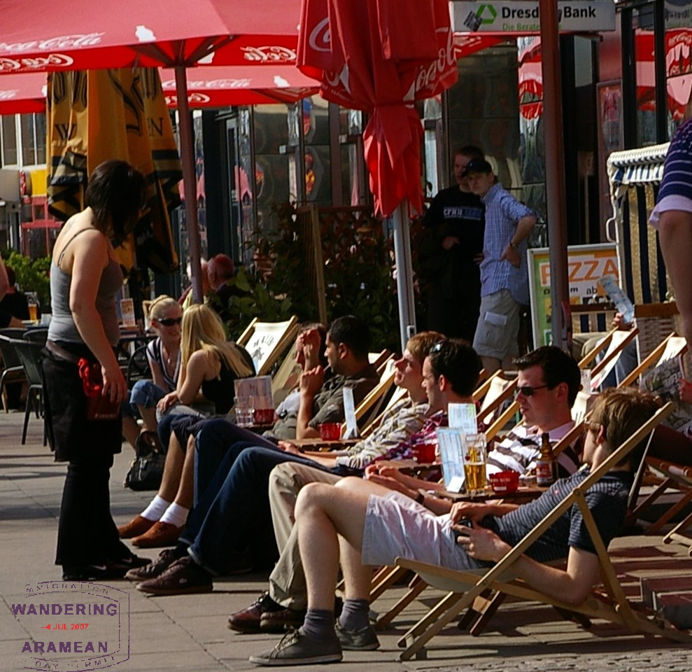 Relaxing in the sun and enjoying a beer near the Reeperbahn district