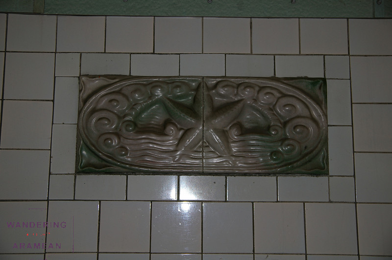One of the many tiles decorating the walls of the Elb Tunnel