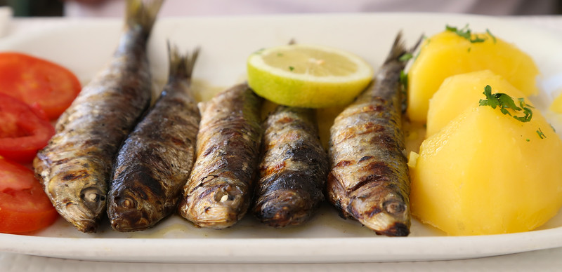 Grilled sardines, a Portugese favorite