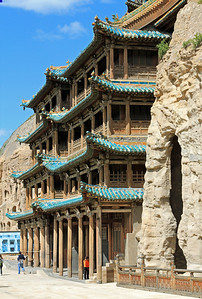 Exterior of Cave 6, Yungang Caves, Datong, China.