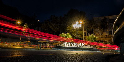 The roundabout at Torrox at night