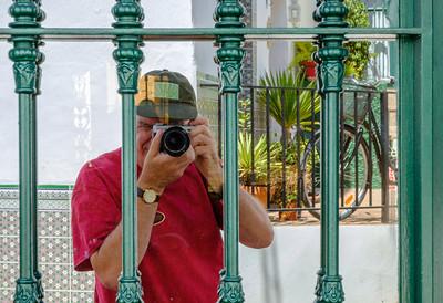 A self portrait taken in a mirrored door in Torrox