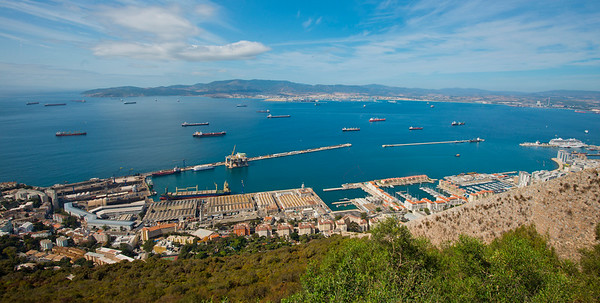 View from the top of the Rock of Gibraltar across to the Spainish mainland and the port city of Algeciras
