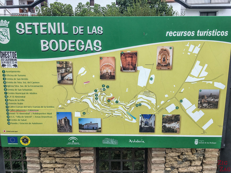 Setenil de las Bodegas Map - Tourism highlights
