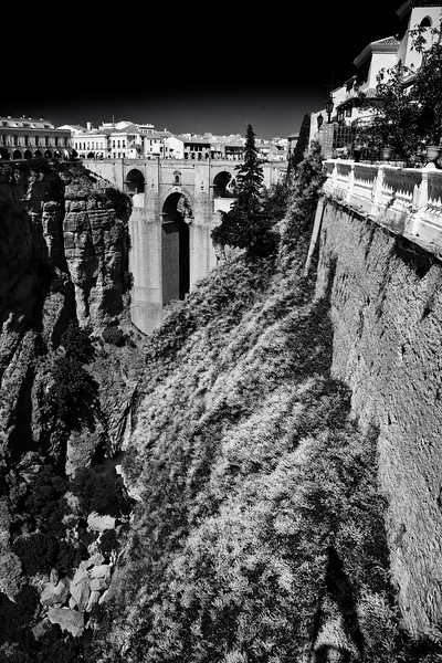 """Ronda, Andalusia. The execution of a group of alleged Fascists from this bridge inspired the famous episode in Hemingway's """"For whom the bell tolls"""". View from Casa Don Bosco."""