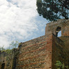The Alcazaba (8th-11th century fortified castle built on ruins of a Roman fort) in Malaga, made out of rock and brick.