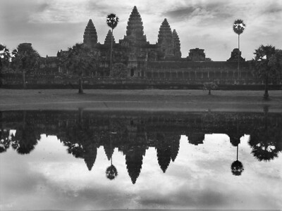 Angkor wat lake Black and white, Cambodia