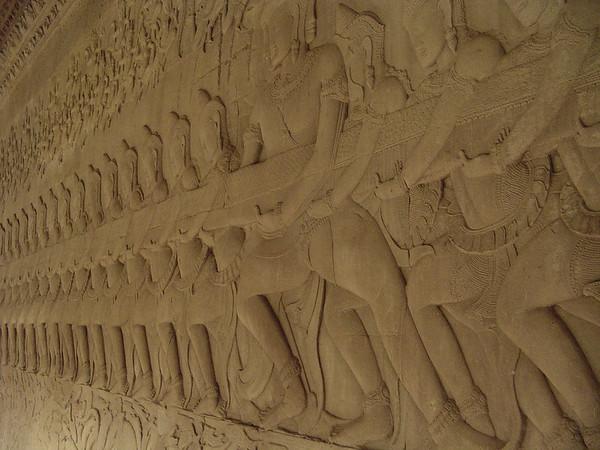 Angkor wat stone carving warriors, Cambodia