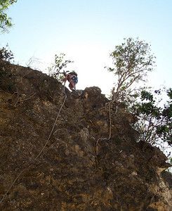 Little Bay cove, Anguilla Feb 15, 2009 me starting down the rocky cliff by rope